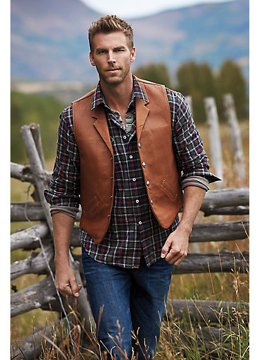 Gage Bison Leather Vest with Concealed Carry Pockets - Big (50 - 54)