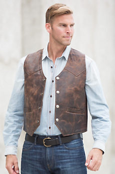 Sonoma Bison Leather Vest with Concealed Carry Pockets