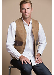 Outback Waxed Canvas and Bison Leather Vest with Concealed Carry Pockets