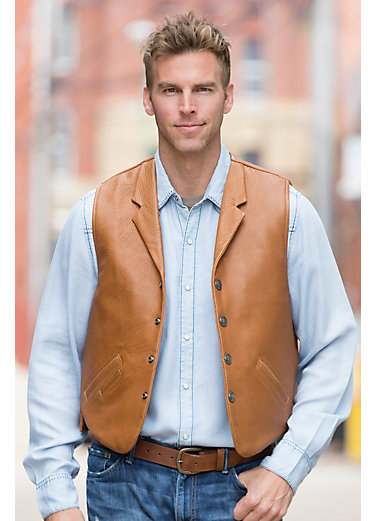 Gage Bison Leather Vest with Concealed Carry Pockets - Big & Tall (50L - 56L)