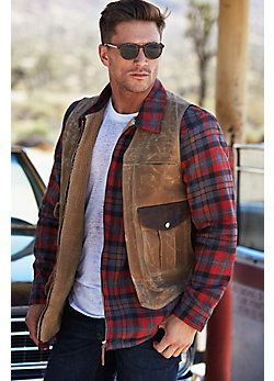 Outback Waxed Canvas and Bison Leather Vest with Concealed Carry Pockets - Big (52 - 54)
