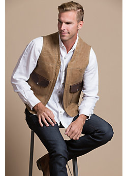Outback Waxed Canvas and Bison Leather Vest with Concealed Carry Pockets - Tall (40L - 50L)
