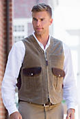 Outback Waxed Canvas and Bison Leather Vest with Concealed Carry Pockets - Big & Tall (52L - 54L)