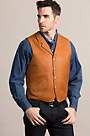 Santa Fe American Bison Leather Vest with Concealed Carry Pockets