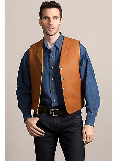 Santa Fe American Bison Leather Vest with Concealed Carry Pockets - Tall (40L-50L)