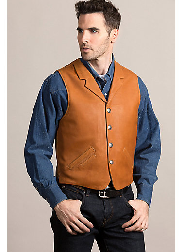 Santa Fe American Bison Leather Vest with Concealed Carry Pockets - Big & Tall (52L-56L)