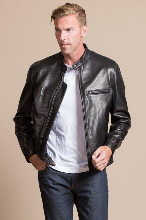 Curt Burnished Cowhide Leather Moto Jacket