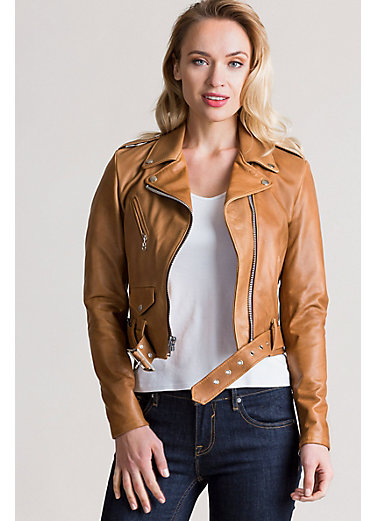 Daria Argentine Leather Moto Jacket
