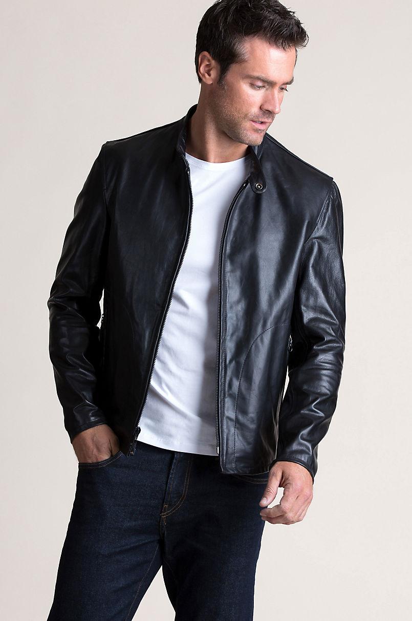 Davis Italian Leather Moto Jacket  6aef83dbcf000