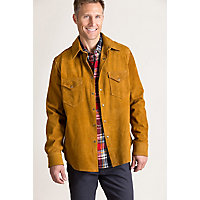 Vintage Shirts – Mens – Retro Shirts Ryder Goatskin Suede Western Shirt Jacket $649.00 AT vintagedancer.com