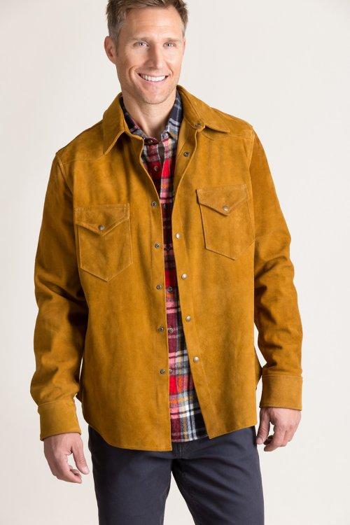 Ryder Goatskin Suede Western Shirt Jacket