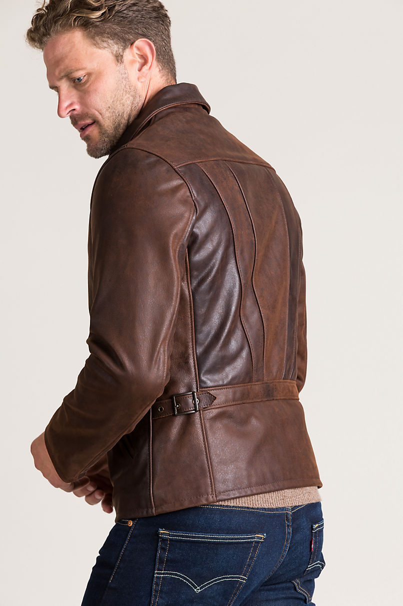 James Vintage Style Waxed Buffalo Leather Moto Jacket