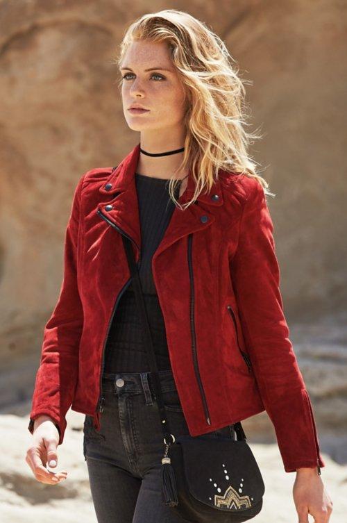 Shawna Goatskin Suede Leather Moto Jacket