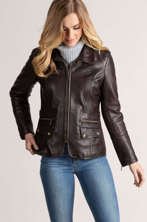 Amelia Argentine Leather Moto Jacket