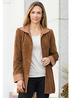 Fiona Lambskin Suede Leather Jacket