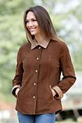 Joy Lambskin Suede Leather Shirt Jacket