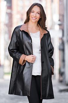 Sophie Napa Lambskin Leather Coat