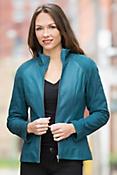 Violet Contrast Leather Jacket