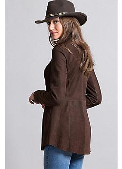 Shaena Lambskin Suede Leather Shirt Jacket