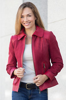 Blaine Italian Suede Leather Jacket with Contrast Trim