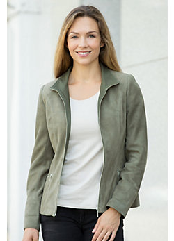Katie Italian Lambskin Suede Leather Jacket with Leather Trim