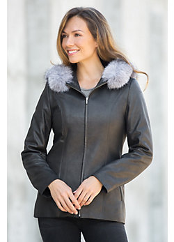 Stella Hooded Italian Lambskin Leather Jacket with Fox Fur Trim
