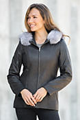 Stella Hooded Italian Lambskin Leather Jacket with Silver Fox Fur Trim