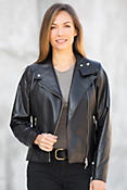 Caterina Italian Lambskin Leather Lux Moto Jacket