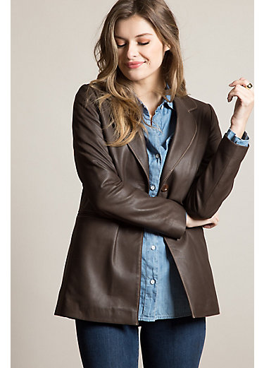 Amanda Lambskin Leather Blazer