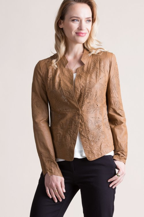 Mara Vintage Style Italian Lambskin Leather Jacket