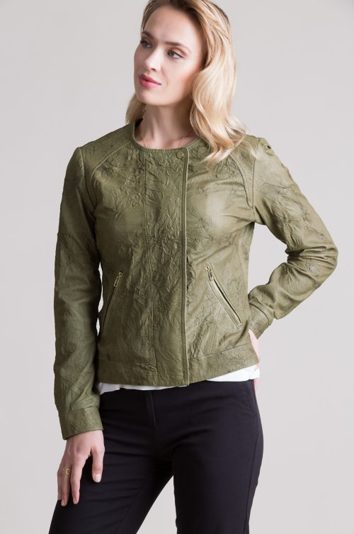 Isabel Crinkle Lambskin Leather Moto Jacket