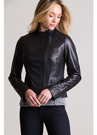 Lucretia Italian Lambskin Leather Moto Jacket