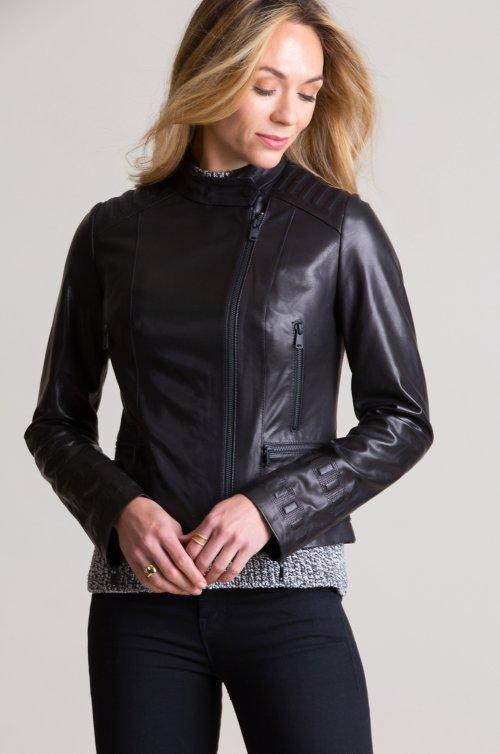 Lucretia Italian Lambskin Leather Moto Jacket