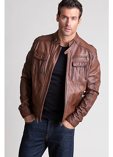 Sloan Washed Italian Lambskin Leather Moto Jacket