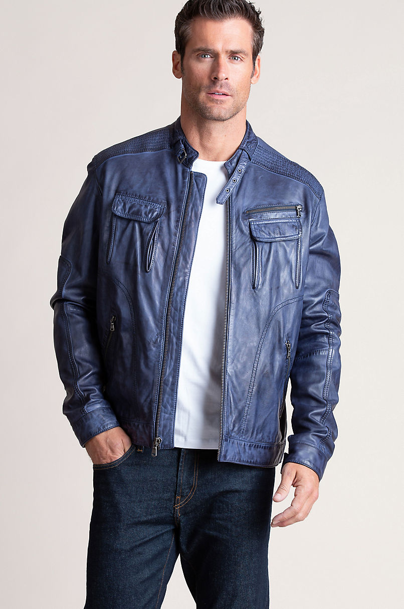 Sloan Washed Italian Lambskin Leather Moto Jacket