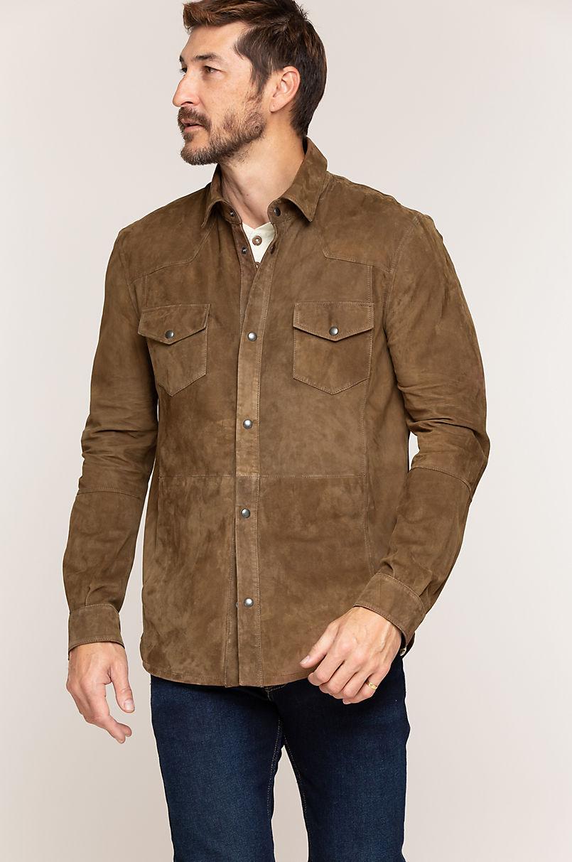 Spencer Italian Lambskin Suede Shirt Jacket
