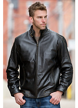 Jacob Lambskin Leather Bomber Jacket