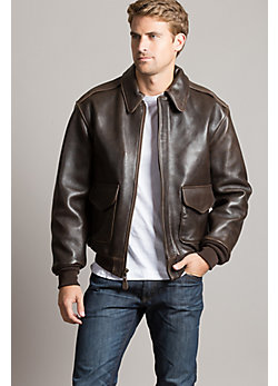 Charles Lambskin Leather A-2 Bomber Jacket