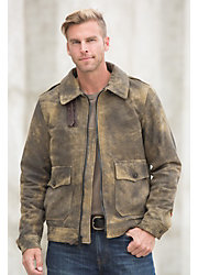 Tomahawk Distressed Lambskin Leather Bomber Jacket