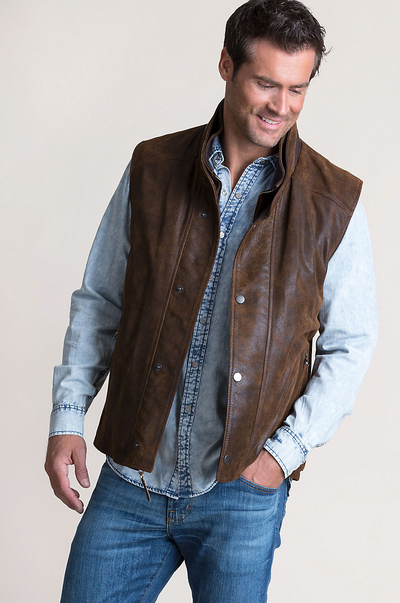 Falcon Distressed Italian Lambskin Leather Vest