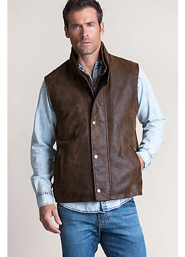 Falcon Distressed Italian Lambskin Leather Vest