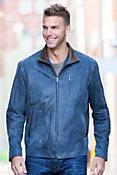Watson Distressed Lambskin Leather Bomber Jacket