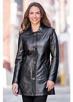 Rylee Lambskin Leather Coat