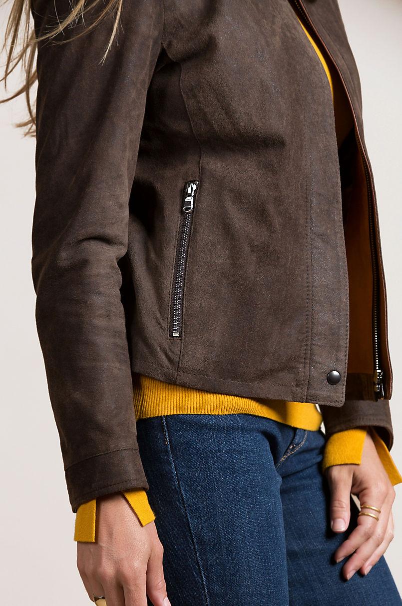 Sabella Lambskin Leather Bomber Jacket