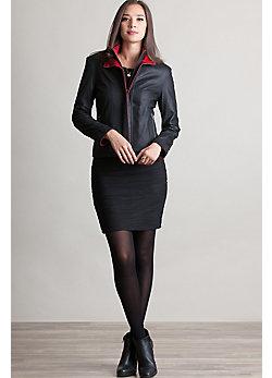 Fabienne Lambskin Leather Bomber Jacket