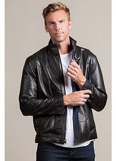 Glasgow Reversible Lambskin Leather Moto Jacket
