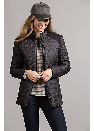 Jill Quilted Microfiber Jacket with Lambskin Leather Trim