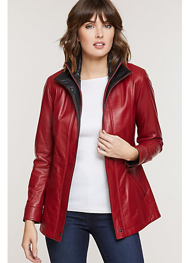 Rory Scarlet Lambskin Leather Jacket