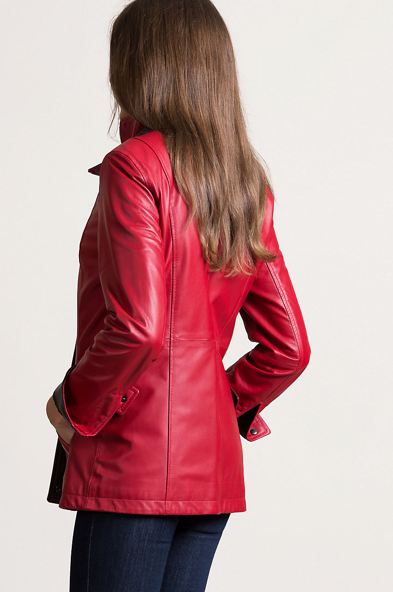 Rory Scarlet Lambskin Leather Jacket