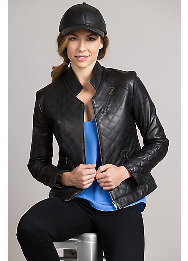 Nicole Washed Lambskin Leather Moto Jacket